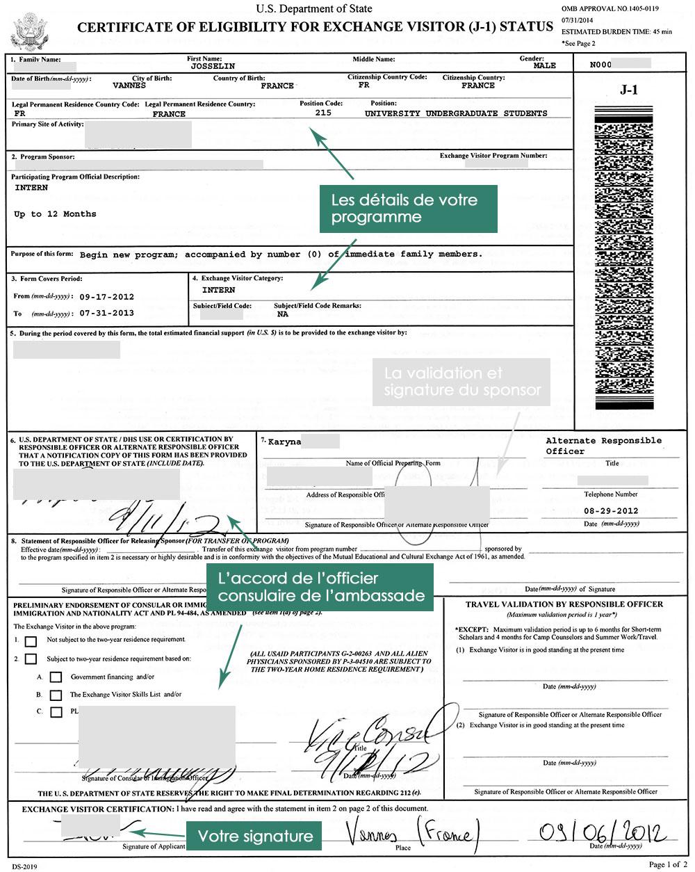 DS 2019 pour le dossier du visa J1 intern