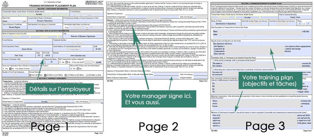 Document DS 7002 pour le dossier du visa J1
