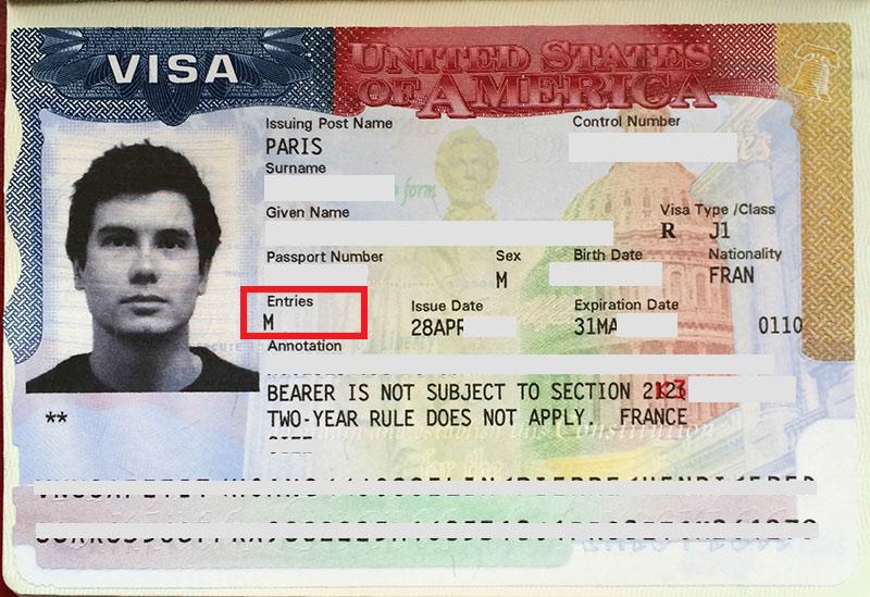 Visa J1 avec multiple entries usa