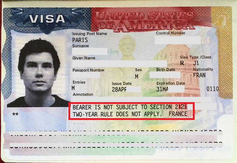 Visa J1 et la regles des 2 ans qui ne s'applique pas