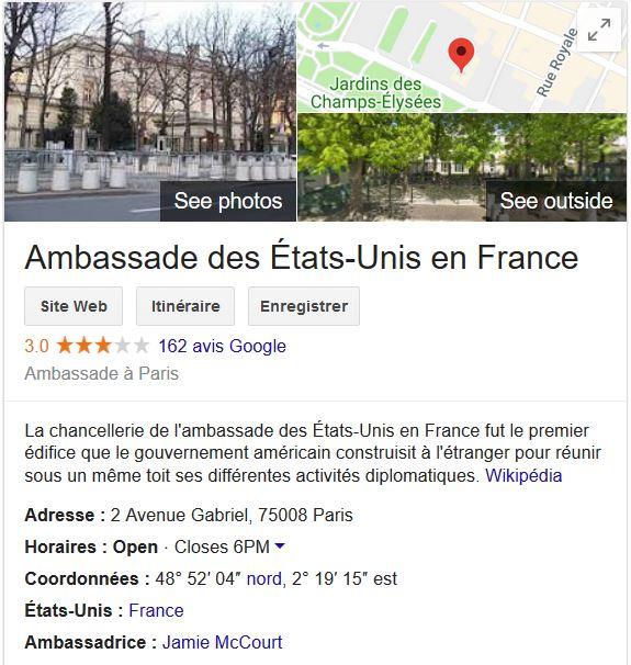 Ambassade américaine à paris pour obtenir son visa de travail pour les Français